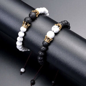 2Pcs Double Crown Couples Bracelet Lava Stone Essential Oil Stretch Beads Bangle