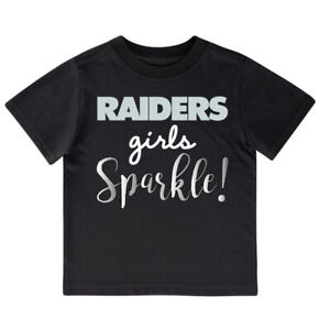 Las Vegas Raiders Girl's Sparkle Baby Toddler Shirt, NFL Gerber Football