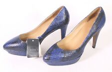 25D mango Damen Pumps Gr. 38 Leder blau schwarz Schlangenlook spitz Plateau neu
