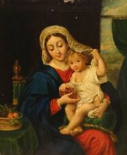 Fine 17th Century French Old Master Madonna & Infant Christ Antique Oil Painting