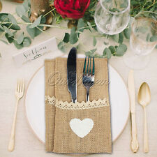 10X Hessian Burlap Lace Heart Cutlery Holder Pouch Bag Wedding Party Table Decor