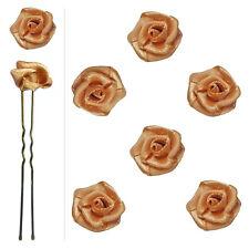 6 épingles pics cheveux chignon mariage mariée fleur satin marron clair caramel