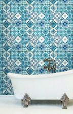 York Wallcoverings Contemporary Mediterranean Tile Wallpaper Blue Cream White