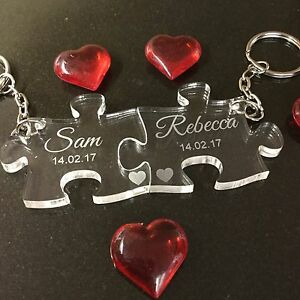 Personalised Acrylic Jigsaw Keyrings Engraved Valentine Anniversary Couples Gift