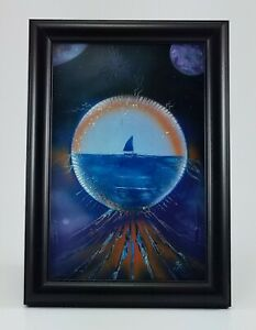Fantasy Painting of Boat on the Water with Moons in Purple Blues by Jason Girard