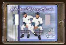 DEREK JETER / JOE TORRE GAME JERSEY PINSTRIPES SWATCH YANKEES CLIPPINGS COMBO !