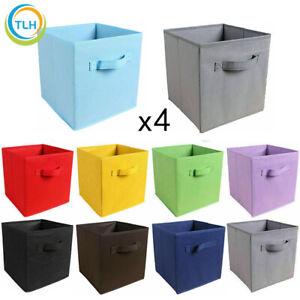 2 4 Foldable Canvas Storage Collapsible Folding Box Fabric Cube Cloth Basket Bag