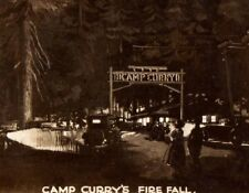 Vintage Postcard  Real Photo  Camp Curry Fire fall  Yosemite National Park Cars