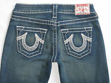 True Religion Bobby Big T Jeans Dark Wash White Stitch Size 25 Hemmed Petite