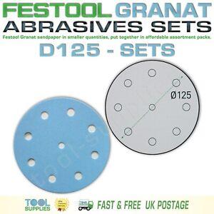 Festool GRANAT 125 mm Sandpaper Assortment Packs, RO ETS EC LEX 3 ROTEX D125 SET
