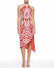Haute Hippie Zebra Sequin Embellished Cutout Halter Dress Size L $695.00