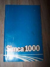 51 - Guide/Notice/Manuel/Carnet d'entretien/Conducteur/Emploi/bord Simca 1000
