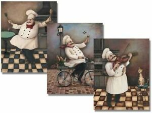 """Jolly Chefs Vintage Posters - Kitchen Decor, Set of 3 Posters, 8"""" x 10"""" by"""