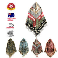 New Fair Trade Boho Festival Poncho Nepal Made Hippy Ethnic Blanket Cotton Hippi