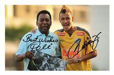 PELE & NEYMAR JR AUTOGRAPHED SIGNED A4 PP POSTER PHOTO