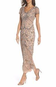Pisarro nights Women's Beaded Mesh Column Gown Color Rose Size 16(28)