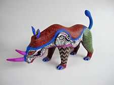 OAXACA WOOD CARVING AMAZING RHINO  MEXICAN FOLK ART