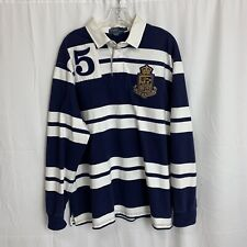 Vintage Polo Ralph Lauren Striped Rugby Men's Size Xl Crest Navy Blue White