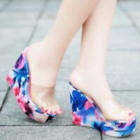 Chic Womens Open Toes Wedge Heel Platform Slip On Transparent Creeper Shoes New