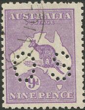 Kangaroos - Sml Multi Wmk: 9d Violet, Die IIB,punct. Small 'OS' with..