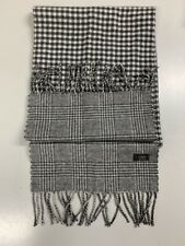 J.Crew Cashmere Double-Faced Scarf in Glen Plaid and Gingham 06404 - Grey