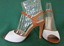 New PERLATO Uk 7 Eur 40 White & Tan Brown Leather Slingback Shoes Party Sandals