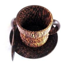 Natural Palm Wood Saucer Set Coffee Tea Cup with Teaspoon Tableware Handmade