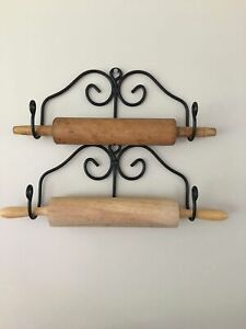 Amish Made Black Wrought Iron Rolling Pin Holders USA Country Primitive NEW