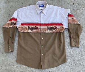 Vintage Wrangler Pearl Snap Button Up Horses Cowboy Stagecoach Western Shirt