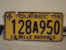 1974 QUEBEC La Belle Province CANADA LICENSE PLATE 128A950