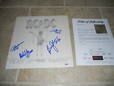 AC/DC x4 Flick of the Switch Signed Autographed LP Album Record PSA Certified