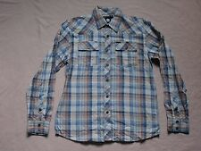 ELEMENT MENS BLUE & GRAY PLAID LONG SLEEVE BUTTON UP SHIRT SIZE SMALL PREOWNED