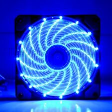 New Ultra Bright 120mm Acrylic Fan Dazzling Blue LED Computer PC Cooling Silent