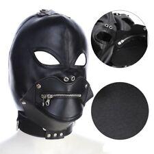 PU Leather Hood zipper Open Mouth Eyes Bondage Devil Party Mask Headgear Hood
