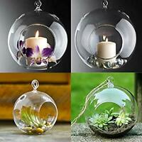 Glass Hanging Planter Tea Light Candle Holder, Pack of 4