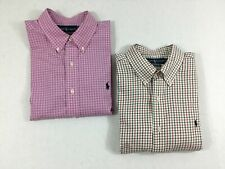 Ralph Lauren Shirt Men's XL Set of 2 Pink Plaid Red Classic Fit Plaid Cotton
