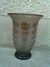 vase verre fumé art deco decor geometrique glass geometric