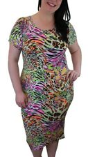 Ladies Plus Size Curve Neon Animal Leopard Print Short Sleeve Casual Midi Dress