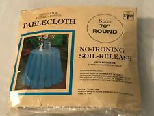 """VINTAGE DECORATOR RUFFLED ROUND TABLECLOTH NO IRON SOIL RELEASE 70"""" BEIGE"""