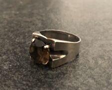 Vintage Sterling Silver Smokey Quartz Modernist Ring