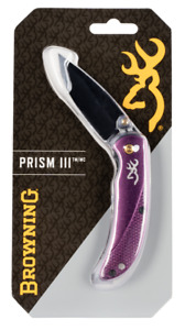 """Browning Prism II 2.40"""" 7Cr17MoV Stainless Steel Drop Point Aluminum Plum Handle"""
