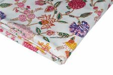 5 Yard Indian Hand Block Print Fabric 100% Cotton Natural Dyed Floral Fabric
