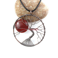 Red Agate Stone Bead Copper Wire Wrap Tree Of Life Chakra Pendant Chain Necklace