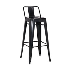 Black Low Back Tolix Stool 76cm Cafe Chair Industrial Furniture