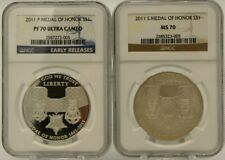 SET OF 2 2011 S/P $1 SILVER MEDAL OF HONOR  NGC PF70 UCAM ER/ MS70