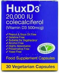 HuxD3 20000iu Vitamin D Hux D3 Vegetarian Halal Kosher | 10 | 20 | 30 | UK STOCK