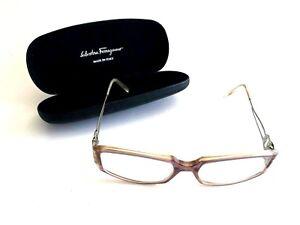 Salvatore Ferragamo Women Eyeglasses Frames Purple Plastic Authentic 51-16 Case