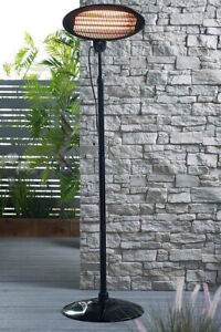 Black Standing Oval Patio Garden Heater Adjustable Height 2kw Free P&P