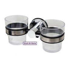 Naleon Suction Twin Cup Toothbrush Holder Stainless Steel Bathroom Storage