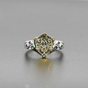 Zelda Hylian Shield Zoras Sapphire Gorons Ruby Kokiris Emerald 925 Silver Ring